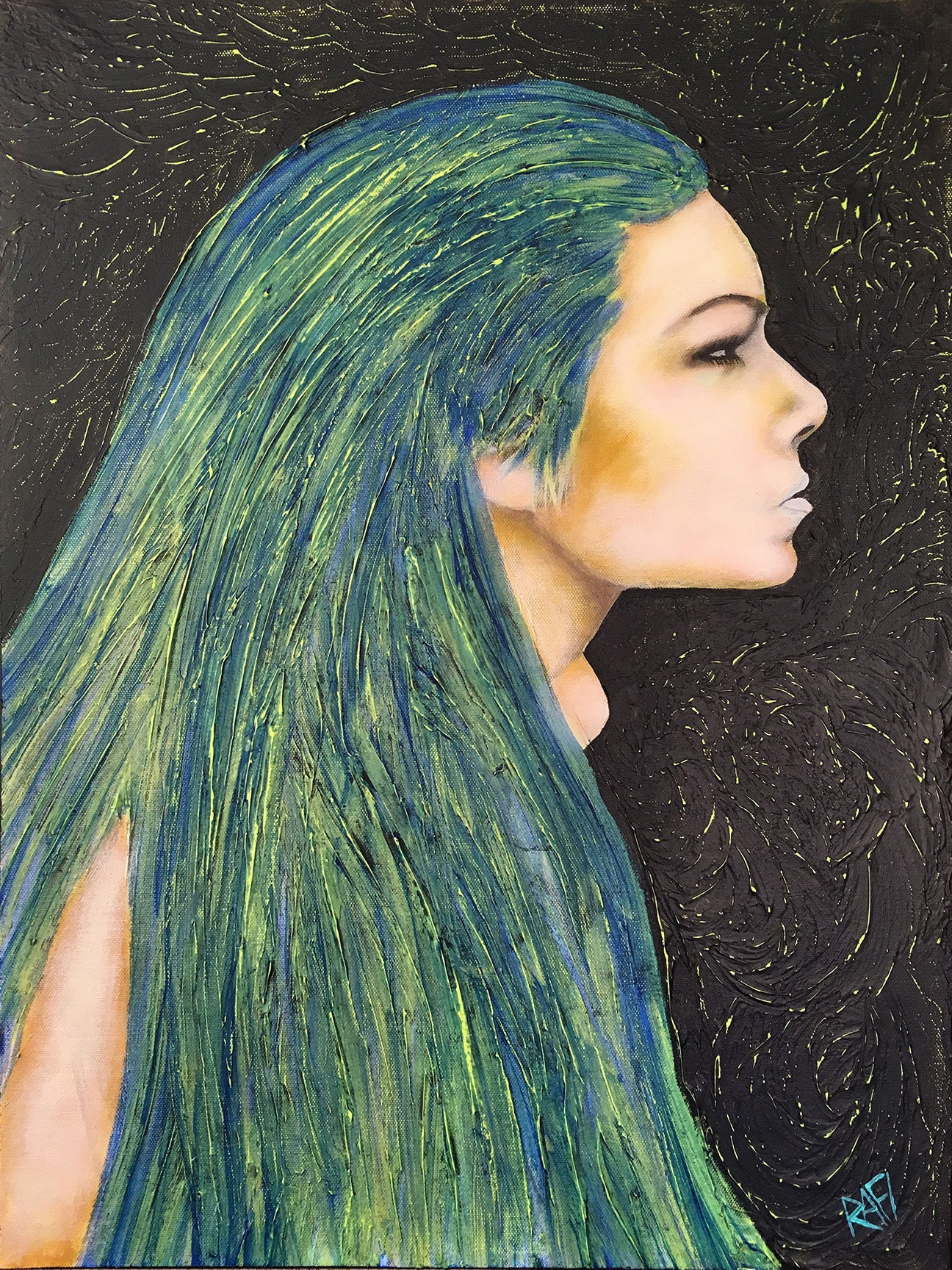 Girl With The Blue Hair Original Painting By Artist Rafi Perez Mixed