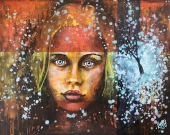 Day Dreams And Rebirth Original Painting by artist Rafi Perez Mixed Medium and Gold Leaf on Canvas 24X18