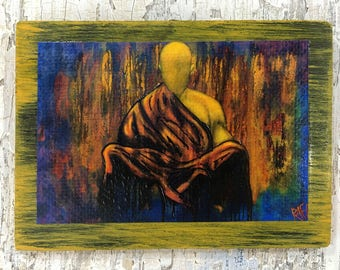 Meditation Buddha Wall Art By Artist Rafi Perez Original Artist Enhanced Print On Wood