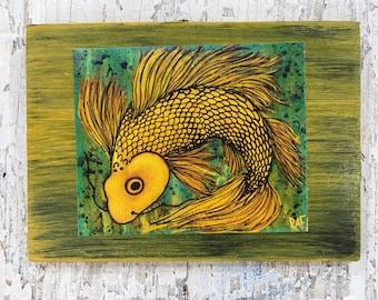 Sunshine Koi Wall Art by artist Rafi Perez Original Artist Enhanced Print On Wood