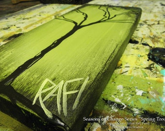 Tree Painting on Reclaimed Wood 12X5 Seasons Of Change Single By Artist Rafi Perez