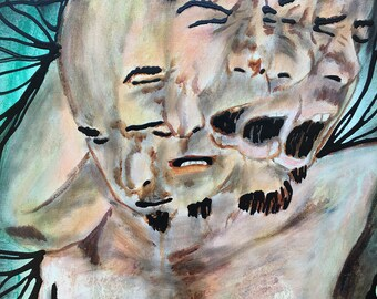The Many Faces Of Living Original Painting Wall Art by artist Rafi Perez on Canvas 18X24