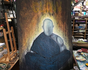 The Glow Of Silence original painting by artist Rafi Perez Mixed Medium on Canvas 32X47