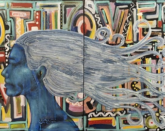 Abstract Mind Original Painting Wall Art by artist Rafi Perez Diptych on Canvas 20X32