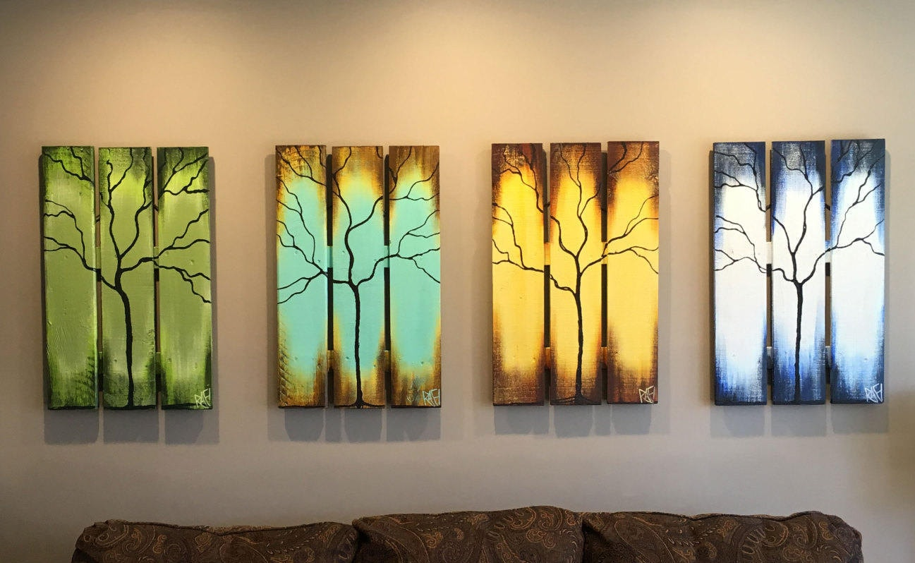 Reclaimed Wood Wall Art Seasons of Change Abstract Tree Paintings on ...
