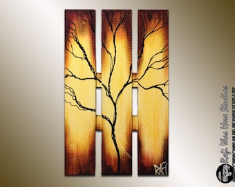 Large Abstract Tree On Wood - Autumn Tree Painting - Seasons of Change