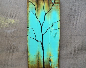 Tree Painting on Reclaimed Wood Single Season - Summer - Seasons of Change By Rafi