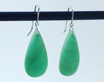 Chrysoprase and Sterling Earrings