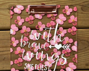 With brave wings she flies Floral | Clipboard
