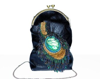 Free shipping USA & Canada. Genuine Leather Shoulder Handbag on Chain Strap with Bead Embroidered Peacock Feather. KissLock Cell Phone Purse
