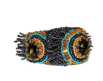 Free shipping USA & Canada. Peacock Bead Embroidered Cuff Bracelet. Blue Green Gold Bracelet. Exotic Bohemian Cuff. Statement Bracelet
