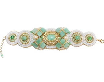 Free shipping USA & Canada. Bead Embroidered Bracelet with Green Aventurine, Freshwater Pearls. Mint Gold White Bracelet Bridesmaid Cuff