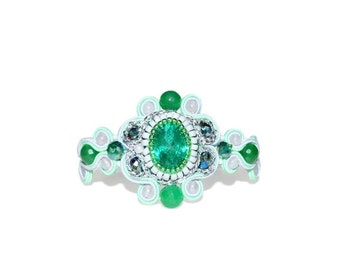 Free shipping USA & Canada. Soutache Bracelet with Swarovski Crystal and White Jade. White Green Bridesmaid Bracelet. Soutache Jewelry