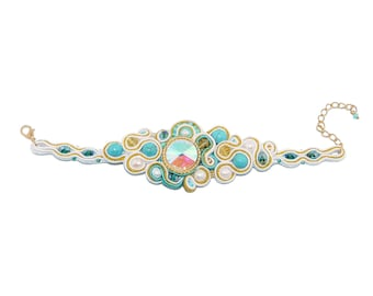 Free shipping USA & Canada. Soutache Bracelet with Howlite, Freshwater Pearls. Bead Embroidered Freeform Cuff. Turquoise White Gold Bracelet