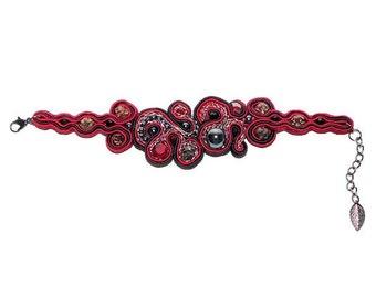 Free shipping USA & Canada. Soutache Hematite Bracelet. Bead Embroidered Freeform Bracelet. Red Black Bracelet. Bridesmaid Statement Jewelry