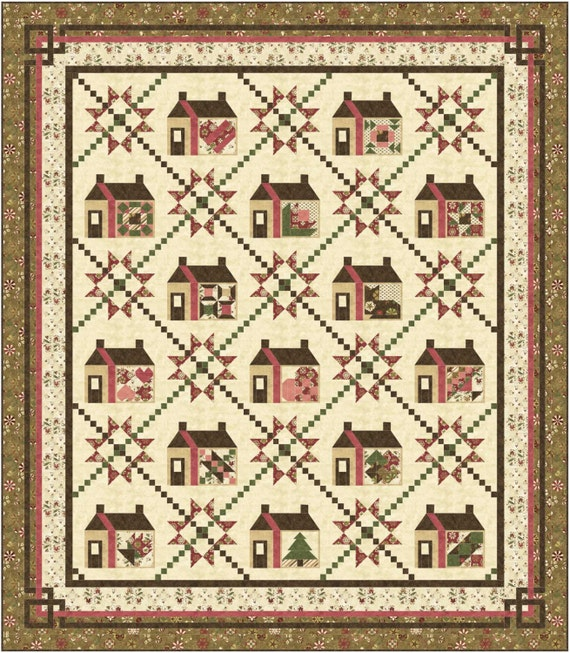 Sampler Quilt Pattern Large Queen Each House Block Has A Etsy Delectable Sampler Quilt Patterns