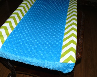 Changing Pad Cover, Lime Green Chevron, Turquoise dot minky