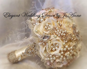IVORY AND GOLD, Custom all Ivory and Gold Bridal Brooch Bouquet, Gold Bouquet, Broach Bouquet, Brooch Bouquet, Wedding Bouquet, Deposit