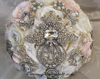 Elegant Brooch Bouquet, Pink and Off White Silk Flower Brides Brooch Bouquet,Jeweled Wedding Bouquet, Pink Brooch Bouquet, DEPOSIT ONLY