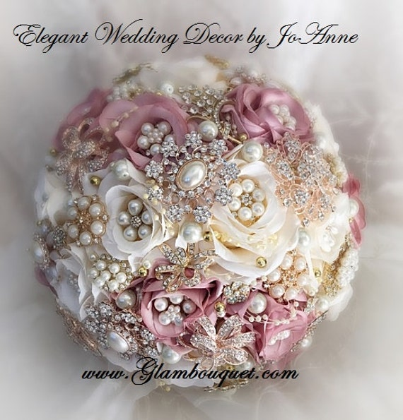 Dusty rose brooch bouquet pink ivory and gold wedding etsy image 0 mightylinksfo