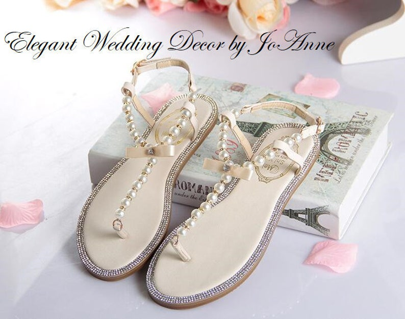 05a7610b23ab6 WEDDING SANDALS Pearl beaded Wedding Sandals Summer Sandals