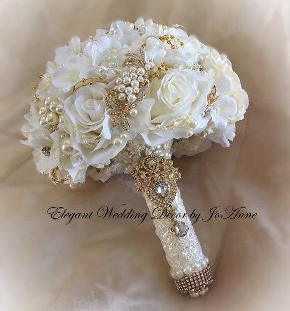 Jeweled Bouquet 5 inch Bouquet Wedding Bouquet Custom Gold Pearl Brooch Bouquet Bridal Bouquet Vintage Lace