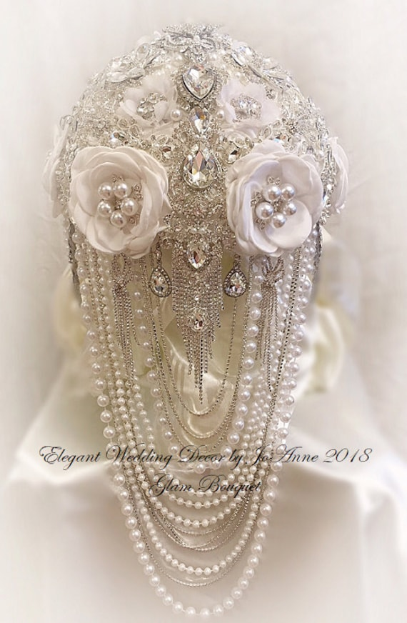 Custom White And Silver Bridal Brooch Bouquet With Silver Etsy