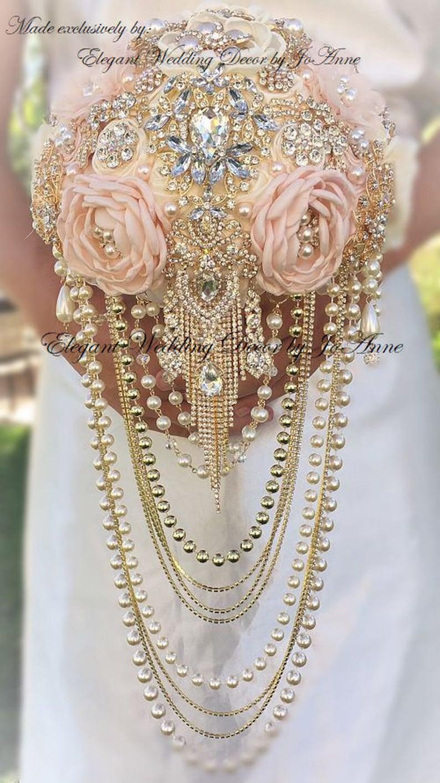 GOLD Brooch Bouquet,Deposit Jeweled WEDDING BOUQUET Handmade Brooch Bouquet Dazzling Pink and Gold Cascading Pearl Brooch Bouquet