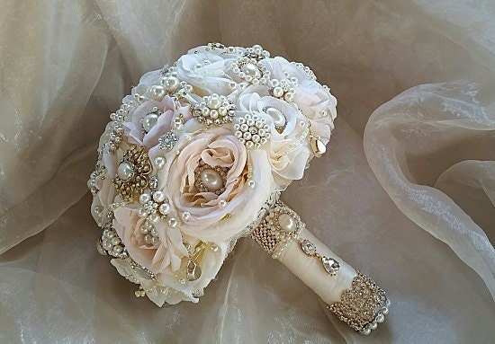 Pink ROSE GOLD BOUQUET, Pink Ivory And Gold Flower Brooch