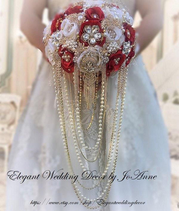 98f0bb33c RED BROOCH BOUQUET, Gold Brooch Bouquet, Red Brooch Bouquet, Gold Brooch  Bouquet, Cascade Wedding Bouquet, 3 Size Options