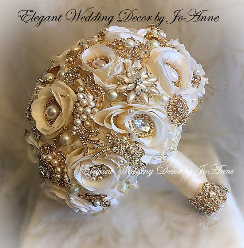 Cream Ivory BROOCH BOUQUET Ivory and Gold Wedding Bouquet  5ee6a47219ee