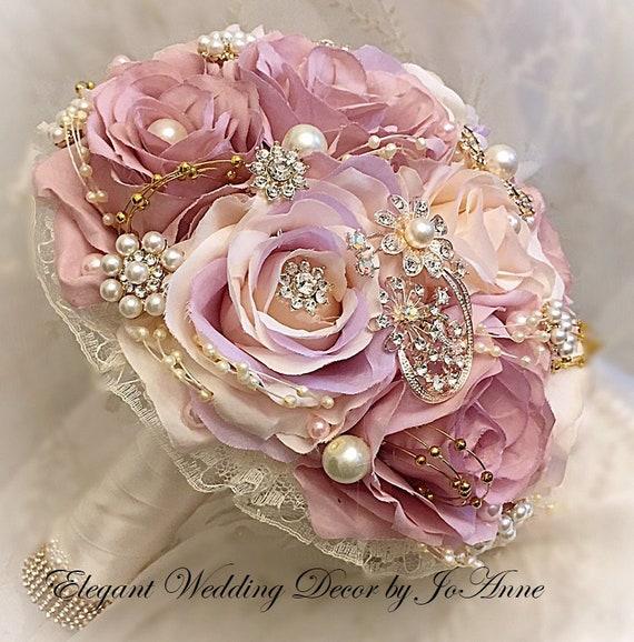 Bouquet Da Sposa Gioiello.Bouquet Da Sposa Fiore Di Seta Elegante Gioiello Oro Gioiello Etsy