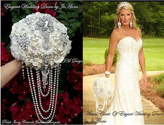 Custom Jeweled Wedding Bouquet Cascading Pearl Brooch Etsy