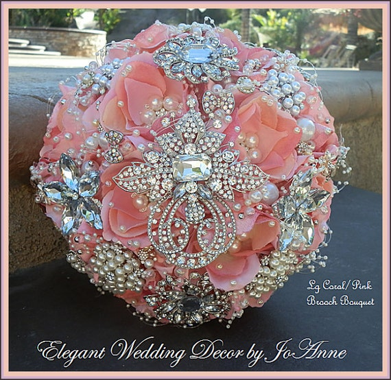 Coral And Pink Wedding Flowers: CORAL PINK Brooch Bouquet DEPOSIT For A Custom Designed
