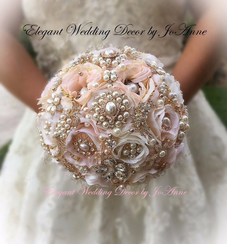 Rose Gold BROOCH BOUQUET 10 Inch pink and Gold Brooch  11059229a133