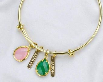 Custom Birthstone bangle bracelet, mother bracelet grandma name bracelet, adjustable bracelet, baby shower gift, new mom, Christmas gifts