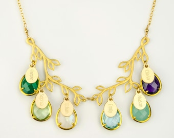 Grandma necklace, Personalized birthstone necklace kids names birthstone mothers necklace, family tree necklace Mothers day gift for grandma