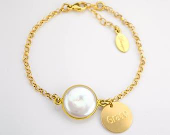 Name bracelet, new mom gift, Personalized Birthstone bracelet, Freshwater Pearl bracelet, personalized bridesmaids gifts, bezel bracelet