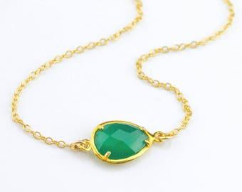Green onyx Necklace, Bridesmaid Necklace, Custom Birthstone necklace, May Birthstone necklace, green onyx pendant, green onyx jewelry