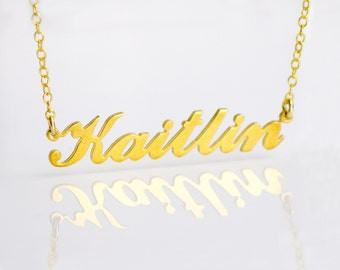 Personalized Name Necklace, Kaitlin nameplate necklace gold, Custom gold name plate Necklace silver, Personalized gift, Cut Name Necklace