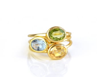 Mothers Ring Set Kids Birthstone ring combo Stackable Birthstone Rings Mother's Day Gift for Mom Peridot Ring Citrine Ring Blue Topaz Ring
