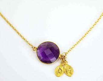 Personalized Purple Amethyst necklace, purple wedding jewelry, Custom initial necklace, February Birthstone necklace, personalized jewelry