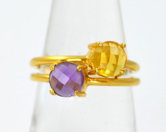 Stacking Birthstone Rings for Mom, Stacking Mother's Ring, Two Children Mom Ring Stackable Rings for Mom Trendy Mothers day gifts for sister