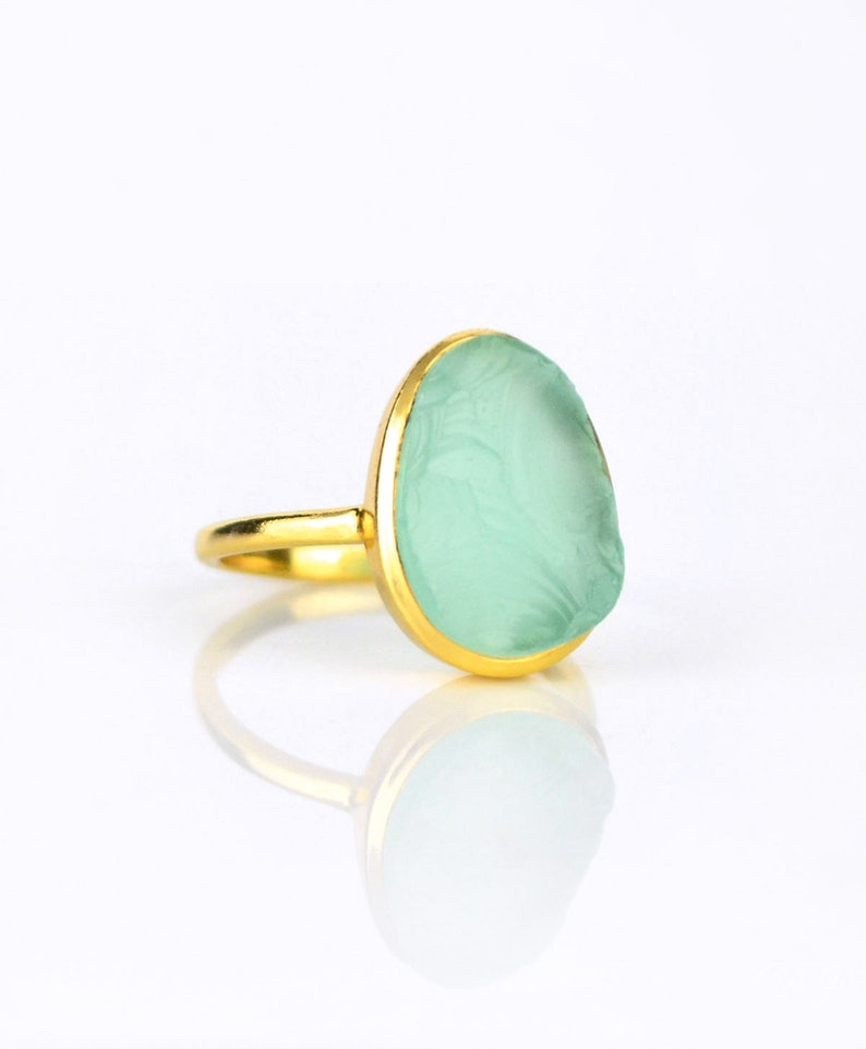 Rough aqua chalcedony ring - aqua chalcedony gold ring, bezel set ring,  statement ring, March Birthstone ring raw stone ring large oval ring