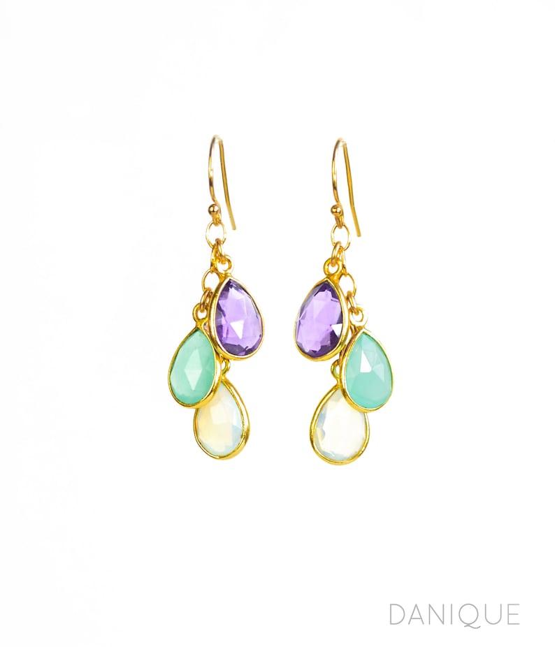 Custom Mothers Earrings with Kids Birthstone Dangle Long image 0