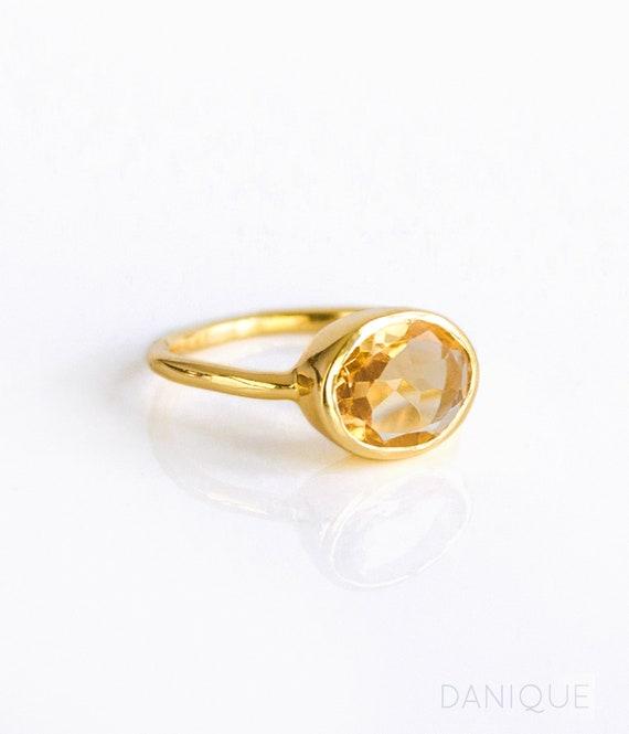 selezione migliore migliore qualità tecnologie sofisticate Anello citrino Champagne, novembre Birthstone anello, impilabile anelli  della pietra preziosa, anello di accatastamento, Sterling Silver Ring,  anello ...