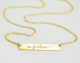 Fearless Necklace, Inspirational Quote, Inspirational Necklace, Gold Bar Necklace, Fearless Jewelry, Dainty Gold Bar, Inspiring Quote