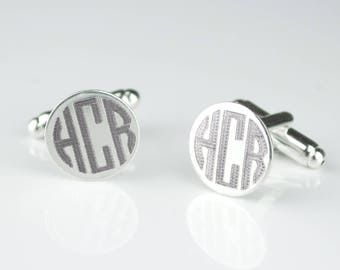 Fathers day gift from wife, Monogrammed Round Cufflinks Groomsmen Gifts Engraved Cufflinks Personalized Gifts for Him Personalized Cufflinks