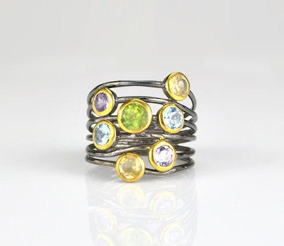 gemstone ring mixed metal ring labradorite jewelry unique ring Multi stone Labradorite ring bezel set ring multistone ring boho ring