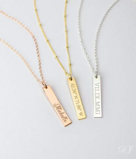 Sterling Silver Personalized Vertical Bar Necklace Custom Made Any Name Pendant chain 18 inch
